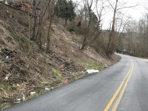 Roadside scenes like this one on on KY 1862 at Thornton are becoming more common these days in Letcher County despite the fact there is mandatory trash pickup.