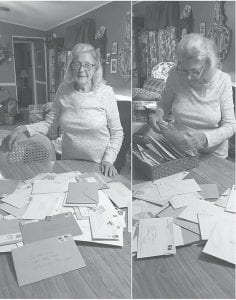 Jewel Boggs Crase is shown with all her 91 birthday cards.
