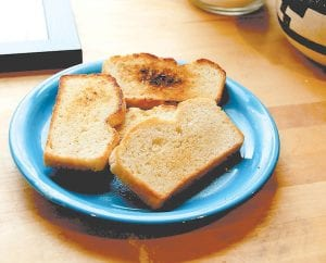 The finished product. A favorite way to eat salt rising bread is toasted with butter. (Photo by Caitlin Tan)