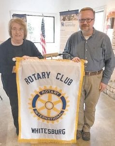Rotary President Eileen Sanders is pictured with the Rev. Jerry Utt, II.