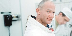 "This image released by Neon/CNN Films shows Buzz Aldrin in a scene from the film ""Apollo 11."" (Neon/CNN Films via AP)"