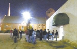 In this file photo, a crowd began to gather outside of the Muscle Shoals Music Hall, in Sheffield, Ala. The small northern Alabama music studio where The Rolling Stones, Cher, and other stars recorded their hit songs is turning 50 this year. Muscle Shoals Sound Studios will host an April 27 celebration of the milestone. (The Times Daily via AP)