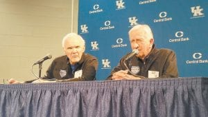 Ed Beck, left, was a starter on UK's 1958 national championship team. Later he became a minister and made a lasting impression on young UK fans. (Larry Vaught Photo)