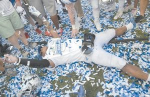 Kentucky's Benny Snell Jr. celebrated in confetti on the field after the Citrus Bowl football game against Penn State on New Year's Day in Orlando, Fla. Kentucky won 27-24. Snell and former UK great Tim Couch, the quarterback from Leslie County High School with strong Letcher County connections, will appear March 12 at an event sponsored by Appalachian Regional Healthcare. The event begins at 12:30 p.m. in the old Whitesburg High School Cafeteria/Library building, now known as the CANE Kitchen and owned by Mountain Comprehensive Health Corporation. (AP Photo)
