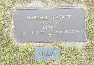 The gravestone of Marshel Tacket, who died March 19, 2004.
