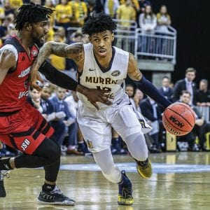 Ja Morant, Murray State Racers' dynamic guard, has a knack for dunking over bigger opponents. He led the nation in assists, was eighth in scoring and turned himself into a potential NBA lottery pick during his sophomore season. (AP Photo)