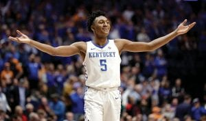 Kentucky guard Immanuel Quickley celebrated in the final seconds of the Wildcats' win over Alabama in the Southeastern Conference tournament last week. (AP Photo/Mark Humphrey)