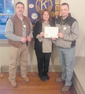 Current Jenkins Kiwanis Club President Todd Depriest (left) is pictured with Kiwanis Lieutenant-Governor Donna Ratliff and Immediate Past President Matt Butler (right).