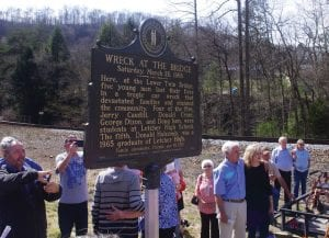 FIVE WHO DIED – A new historical marker placed at the lower Twin Bridge on KY 7 South identifies five young men ages 16 to 18 who died in a fiery car crash there in March 1966. (Photo by Sam Adams)
