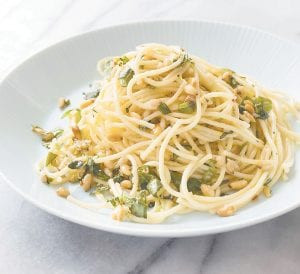 """This photo shows Garlicky Spaghetti made from a recipe appearing in the cookbook """"Vegetables Illustrated."""" (America's Test Kitchen via AP)"""