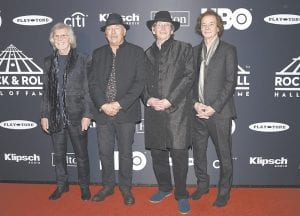 Rod Argent, from left, Hugh Grundy, Chris White and Colin Blunstone, of The Zombies, arrive at the Rock & Roll Hall of Fame induction ceremony at the Barclays Center on March 29 in New York. (Invision/AP)