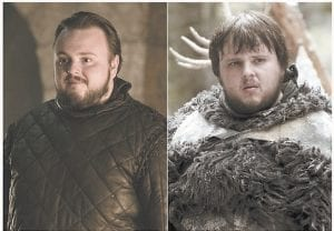"""These four combination photos of images released by HBO show, clockwise from from top left, John Bradley portraying Samwell Tarly, Maisie Williams portraying Arya Stark, Sophie Turner portraying Sansa Stark, and Nikolaj Coster-Waldau portraying Jaime Lannister in """"Game of Thrones."""" The final season of the popular series premieres on April 14. (HBO via AP)"""