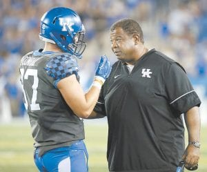 Vince Marrow says 10 wins and beating Penn State in the Citrus Bowl last season has given UK football even more credibility with recruits. (Vicky Graff Photo)