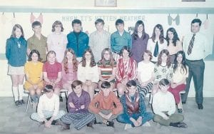 Pictured are the members of the eighth grade class in 1970-1971 at Colson Elementary School. (Back row) Sandra Day Hall, Ernie Sexton, Barbara Sergent, Gary Amburgey, Jet Wright, Tim Sexton, Freida Nease, Rita Cook, Zilda Meade Henson, Mr. Cook (second row) Jeanette Tacket Yonts, Joanne Amburgey Gross, Pam Sexton Taylor, Veletta Banks Martin, Carolyn Hall, Debbie Gibson, Verlene Breeding Eldridge, Trenda Sturgill Kincer, Velma Profitt Caldwell (front row) Ralph Day, Tex Isaacs, Eddie Anderson and William Amburgey, Maurice Caudill