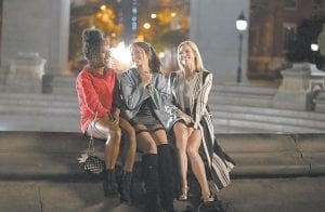 """This image released by Netflix shows DeWanda Wise, from left, Gina Rodriguez and Brittany Snow in a scene from """"Someone Great."""""""