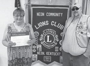 Vanessa Adams is the newest member of the Neon Community Lions Club.