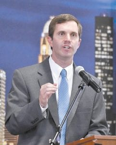 State Attorney General Andy Beshear, a Democratic candidate for Kentucky governor, speaks at a forum in Louisville. (AP Photo/Timothy D. Easley)