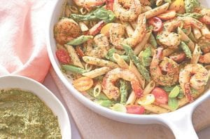Spinach Pesto Pasta with Shrimp. (Cookinglight.com)