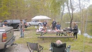 Campers gathered for lunch and conversation Tuesday at Fishpond Lake at Payne Gap. The facility is still owned by the Letcher County Fiscal Court, but is now being managed by the Letcher County Tourism Commission, which is planning many improvements.