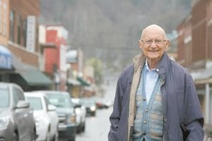 John Rosenberg, a Jewish attorney born into pre-Holocaust Germany, poses for a photo in Lexington. Rosenberg helped outlaw broad form deeds and created a free legal aid service that has provided help to thousands of poor people in eastern Kentucky. (Caitlyn Stroh/Lexington Herald-Leader via AP)