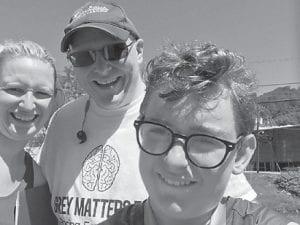 Sally Oakes, Brandon Robinson and Grant Barto at the Grey Matter 5K