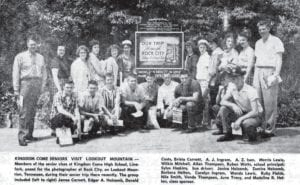 Kingdom Come High seniors return from class trip The front page of the May 29, 1959 edition of The Mountain Eagle carried this photograph of seniors from Kingdom Come High School at Linefork. The photo was taken during a class visit to Lookout Mountain, Tennessee.