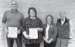 Pictured left to right are Ricky Rose, Denise Yonts, Rotary President Eileen Sanders, and Jack Burkich.