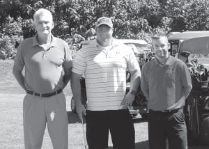 """TOURNAMENT CHAMPS — Letcher County Property Valuation Administrator Ricky Rose, Jarrod Stevens, and Derek Barto won the Whitesburg Rotary Club/Letcher County Chamber of Commerce Golf Scramble held June 14 at Raven Rock Golf Course at Jenkins. The team of three called itself """"Rick Rose Letcher County PVA."""" Money raised from the event is used to finance scholarships given each year by both clubs to deserving students. Corporate sponsors for the event were Whitesburg Appalachian Regional Healthcare and Community Trust Bank."""