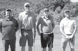 The second-place consisted of, from left, Dave Hampton, Fred Back, Bryan Fleming and Mark White.