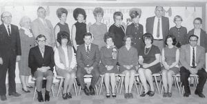 Pictured is the faculty of Colson Elementary School 1970-1971, (back row, left to right) Mr. Stewart, Mrs. Hammonds, Mr. Isaac, Mrs. Shirley Breeding, Mrs. Cook, Mrs. Creeda Bates, Ms. Maggard, Mrs. Lenora Watts, Mr. Back, Ms. Collins, Mrs. Stewart, (front row) Mr. Dale Collins, Ms. Della Gibson, Mr. Ted Cook, Mrs. Lorraine Kuracka, Ms. Mary Susan Flynn, Mrs. Shirley Sexton, Mrs. Farley and Mr. Bill Whitaker.