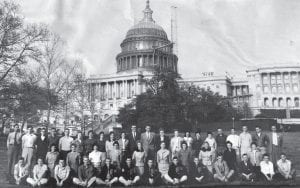 """SENIOR CLASS JOURNEY — Fleming-Neon High School Class of 1960 member Robert """"Bobby"""" Pike (seated on front row, far left) furnished this photo taken in front of the U.S. Capitol Building during the class's senior trip to Washington, D.C., and New York City. Pike, who now lives in Hindman, says he remembers Washington more fondly than New York City, which he found to be overcrowded. Pike is a former employee of the old Coca-Cola Bottling Company of Whitesburg, which is now home to the Whitesburg campus of Southeast Kentucky Community and Technical College (SKCTC)."""