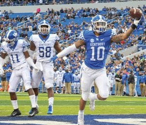 Not having Benny Snell running the ball will be different for UK's offensive line but assistant coach John Schlarman is convinced A.J. Rose and others will do just fine in the backfield this year. (Vicky Graff Photo)