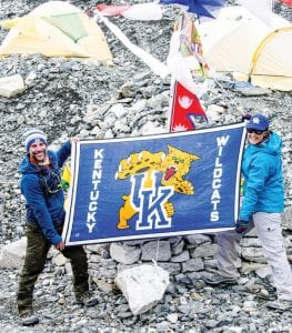 Chip, left, and Krystal Dittus made sure everyone at the Mt. Everest base camp knew they were Kentucky fans.