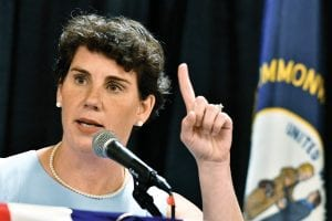 Amy McGrath speaks to supporters during the 26th Annual Wendell Ford Dinner in Louisville in August 2018. McGrath, a Marine combat aviator who narrowly lost a House race to an incumbent Republican in Kentucky, has set her sights on an even more formidable target: Senate Majority Leader Mitch McConnell. (AP Photo)