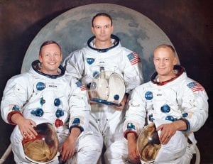 """This photo made available by NASA shows the crew of the Apollo 11, from left, Neil Armstrong, commander; Michael Collins, module pilot; Edwin E. """"Buzz"""" Aldrin, lunar module pilot. Apollo 11 was the first manned mission to the surface of the moon. (NASA via AP)"""