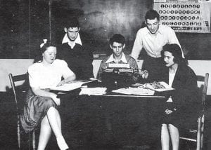 Yearbook staff, pictured left to right: Alma Haddix, Jack Peters, Nickey Hazen, Adeliah Davidson, Bobbie Ruth Akers. Staff Officers - Nickey Hazen, Editor in Chief; Adeliah Davidson, Feature Editor. Assistant Editors - Billy Reynolds, Cam Cook, Jr., Mildred Fulton, Edwin Kincer, Ray Meade, Betty Jean Reed, Thelma Trinkle - Advertising Editor, Bobby Ruth Akers.