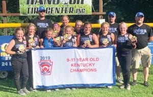 Members of the championship team shown in this photo are (front row, from left) Cambridge Combs, Autumn Snell, Maddie Potter, Kaylee Baker, Scarlet Stamper, Jauna McElroy, and Brooke Lucas. On the back row, from left, are Coach Matt Gayheart, Lexi Holbrook, Samara Bailey, Macy Pennington, Coach Brian Lucas, and Coach Mikey Sexton. Not pictured are teammate Bella Hall and coaches Lowin Potter and Gemma Gayheart.