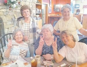Pictured are Louise Shepherd, Oma Hatton, Kathleen Brock, Betty Brown, and Judy Greene.