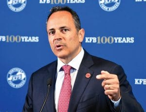 Kentucky Governor and Republican candidate for governor Matt Bevin spoke to the media after the recent Kentucky Farm Bureau candidates forum. (AP)