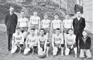 FLEMING HIGH SCHOOL BASKETBALL TEAM 1937-38 — In order from left to right: front row Lloyd McMillan (G); Harold Jenkins (F and Capt.); Dee Conley (C); James Johnson (F); Lawrence Smith (G); Hershel Hudgins (Mgr.) Back Row Walter Enlow, Assistant Coach; Clayton Stapleton (G); Jessie Collier (C); Albert Pass (G); Sam Alfano (F); Ted Pass (G); Vincent A. Vaughan, Coach.