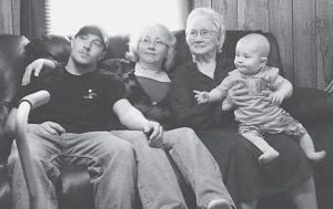 Alphae Profitt is pictured with one of her great-grandsons, her daughter Teresa Glispie, and her son Joe Glispie.