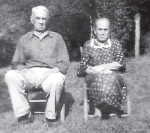 Mr. and Mrs. Adams are seen in a photo taken in 1945.
