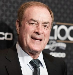 """NBC """"Sunday Night Football"""" announcer Al Michaels arrives at the The NFL100 Gala held at the Microsoft Theater in Los Angeles. Michaels has been a prime-time fixture in the NFL for decades as the voice of """"Monday Night Football"""" on ABC for 20 years and is now entering his 14th season calling Sunday night games on NBC. (Invision/AP)"""
