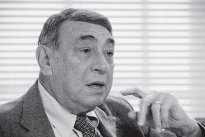 In this Feb. 14, 1985, file photo, Howard Cosell speaks in his ABC-TV office in New York. One of a kind as an announcer, Cosell was the rare analyst who never played or coached the game. (AP Photo)