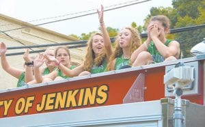 The members of the Jenkins Middle School Girls' Basketball team enjoy their ride. Pictured, from left, are Cadi Firth, Hallie Fleming, Ally Fields, Jasmine Caudill, Alexis Richie and Ashley Fields.