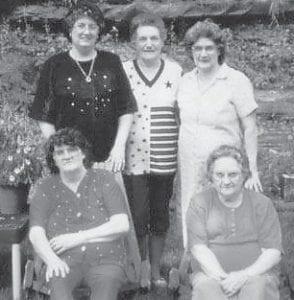 Pictured are the five Pennington sisters, (back row) Linda Pennington Hall, Pearl Pennington Noble, Dorothy Pennington Tacket, (front row) Maizie Pennington Adams, and Margie Pennington Adams.