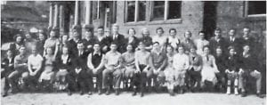 JUNIOR CLASS — Members of the junior class are (left to right, front row) Lonnie Stephens, Donald Sharpe, Florence Auxier, Maxine Phipps, Maxie Lee Mullins, Vincent Vaughan (Advisor), Sam Vertuca (President), Harold Jenkins (Vice President), Edith Tucker (Secretary), Russell Rains (Treasurer), Paul Collier, Hazel Harlow, Draxie Gooch, Irene Hawley, Dalma Hale, Inez Blair, June Polly, James Evans. (second row) Gladys Quillen, Bessie Kiser, Georgia Quillen, Charline Godsey, Imagene Hale, Herbert Gillis, Charles Sisk, Otis Anderson, Carl Tolliver, Alice Smith, Opal Land, Odell Johnson, Mary Alley, Virginia Addington, Cassie Parsons, Albert Pass, Walter Fulton and Alvin Bentley.