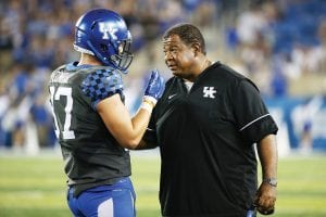 Vince Marrow has not helped UK football land No. 1 recruiting classes like John Calipari has done in basketball, but next season UK could have 12 four-star players on defense — a remarkable rise in star power. (Vicky Graff Photo)