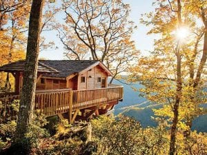 """Pictured above is a """"treehouse"""" rental similar to hillside cabins that will be offered for rent at Thunder Mountain."""