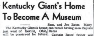 """The image above was taken from the September 22, 1949 edition of The Mountain Eagle. It is a headline of a story concerning an effort to preserve the Seville, Ohio home of Captain Martin Van Buren Bates, a Letcher County native who became world famous for being a """"giant"""" who married Anna Swain, a Nova Scotia woman who was even taller. Shown below is a photo of the couple and a reprint of that 1949 article."""